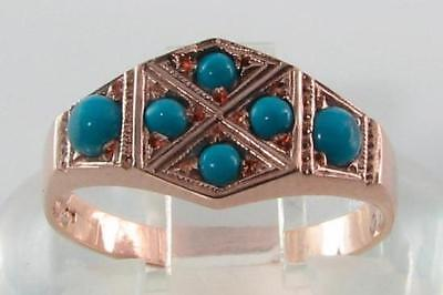 Lovely 9K Rose Pink Gold Art Deco Persian Turquoise Hexagon Ring Free Resize