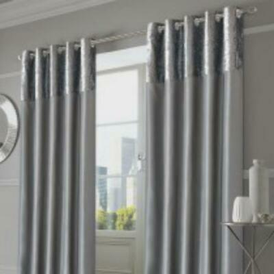 Sienna Home Crushed Velvet Band Eyelet Curtains - Silver