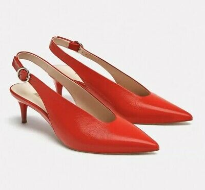 c0c16f6cf54a New Zara Red Slingback Pumps with Kitten Heel Genuine leather Size 9 Eu 40