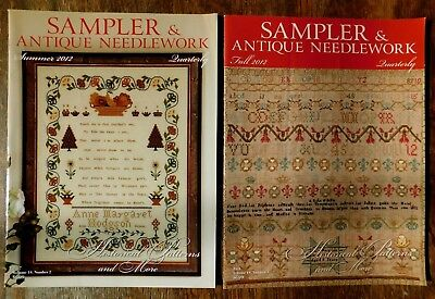 2 Sampler & Antique Needlework Quarterly 2012 magazines 67 summer 68 fall SANQ