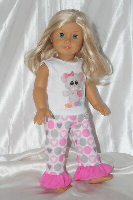 Doll Clothes fits 18inch American Girl Dress Pajamas Outfit Hearts Lot