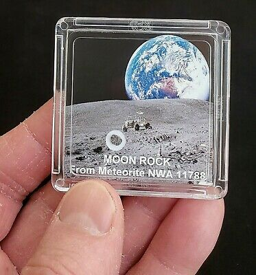 DELUXE EDITION- AUTHENTICATED LUNAR METEORITE- 12mg Moon Rock Display+Easel   er