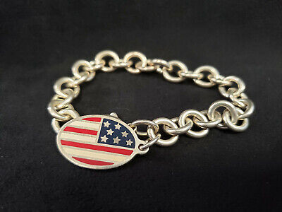 be45540a9d22a TIFFANY CO. STERLING Silver Bracelet w/ American Flag Charm 7.5