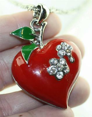 """Cherry red enamel heart clear rhinestone chain necklace 24-26"""" inches silver ton"""