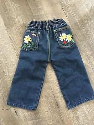 Vintage Girls Jeans 1980s Blue with Yellow Seam Little by Little Size 18 Months