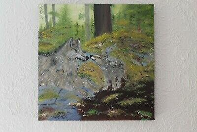 Wolf Painting & wolf pup in the wild original oil painting 1/1 by David Bowers