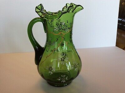 Antique Victorian Green Glass Pitcher Enameled Painting, Ruffled Rim VERY NICE