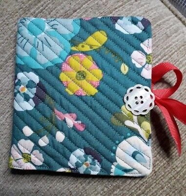 Quilted Handmade Needle Book Floral Modern Blue Fabric doily button