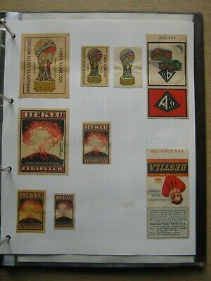 9 Old Czech Matchbox Labels.