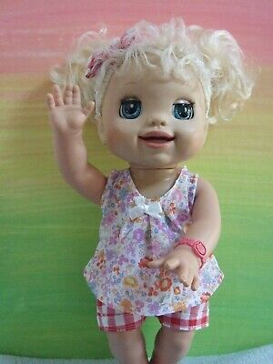 Dolls Clothes for 38cm MED BABY ALIVE DOLL ~ check shorts-floral top-headband