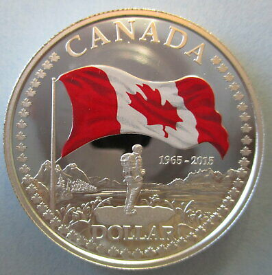 2015 CANADA 50th ANN OF CANADIAN FLAG COLOURED PROOF SILVER DOLLAR COIN