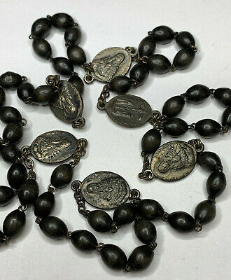 † VINTAGE lLARGER SERVITE SEVEN SORROWS BLACK OVAL COCOA SEED CHAPLET ROSARY †