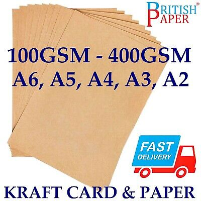 A6 A5 A4 A3 A2 100gsm -400gsm BROWN KRAFT CARD PRINTER PAPER BAG TAG CRAFT SHEET