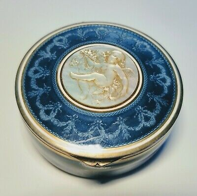 1900s Euro Silver and Blue Enamel Compact with Mother of Pearl Cherub Engraving