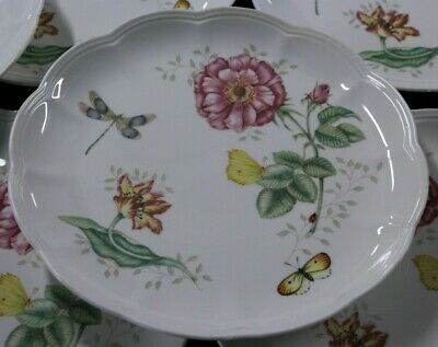 """8 Lenox China Butterfly Meadow Dragonfly Porcelain Dinner Plates 10 7/8"""""""