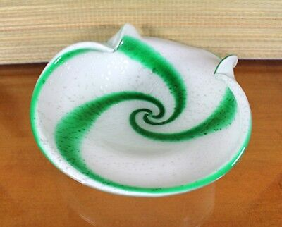 Murano Art Glass Bowl Dish Candy Cane Green White Stripe Italy Hand Blown 1960's