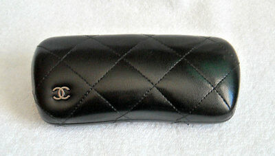 CHANEL Black Quilted Leather Eyeglasses Sunglasses Hard Case