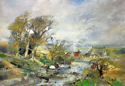 Downstream from Village (De Vogel Oil Painting)