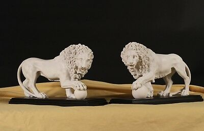 Marble Medici & Vacca Lions, (pair) Stunning Centerpiece, Art, Gift, Ornament.
