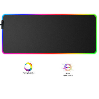 Tappetino Mouse RGB Mousepad gaming 9 varianti colore, carica USB Plug and Play