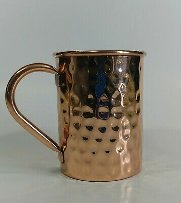 Copper Mug- Premium 100% Pure Solid Copper 16oz Hammered with Brass Handle