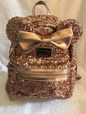 c75fd34f274 Disney Parks Minnie Mouse Rose Gold Sequined Mini Backpack By Loungefly