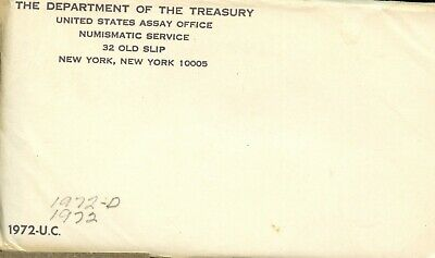 1972 P & D United States Mint Uncirculated Coin Set w/Envelope EB438