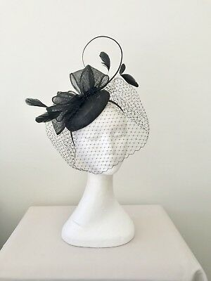 Ladies Black Sinamay Feather Headband Fascinator Wedding Races
