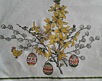 Vintage Easter Art Eggs Flowers White Yellow Gray Green Cotton Tablecloth