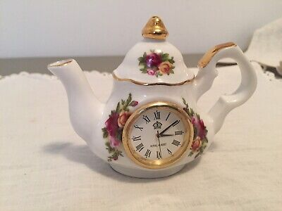 Royal Albert OLD COUNTRY ROSES Mini Teapot Clock Works-New Battery!