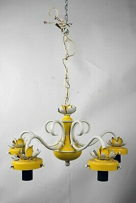 vintage white and yellow floral 5 arm chandelier