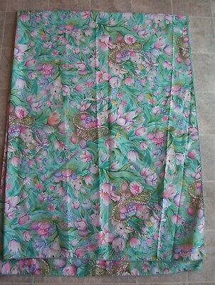 Beautiful Vintage ? Tablecloth Easter Eggs Bunny Rabbits Tulips Spring 82x60 Obl