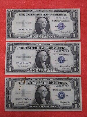 3 consecutive numbered 1935E $1 SILVER Certificates!