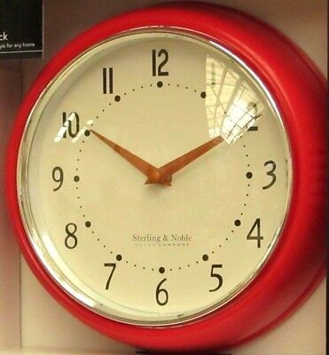 George Home Sterling & Noble Wall Clock Round Decorative Modern Red Retro 1960's