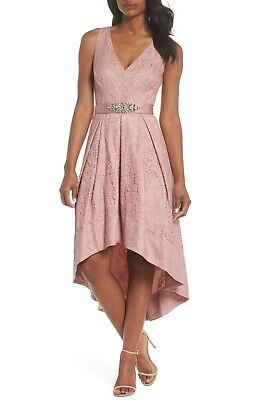 eb4265e7a8a2 NEW ELIZA J Blush Pink Lace Rhinestone Belted High Low Asymmetric Pocket  Dress 4