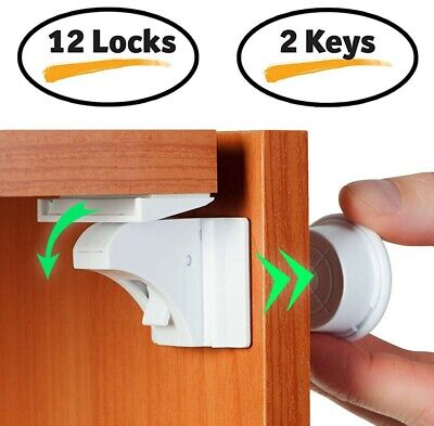 12X Magnetic Cabinet Drawer Cupboard Locks for Child Proofing Baby Kids Safety