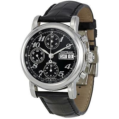 02e8731bc0251 Montblanc Men s Star 38mm Black Leather Band Steel Case Automatic Watch  08451