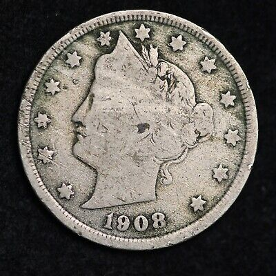 Fine Visible 1908 Liberty V Nickel With Cents Free Shipping