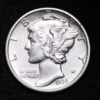 UNCIRCULATED 1936 S Mercury Silver Dime FREE SHIPPING