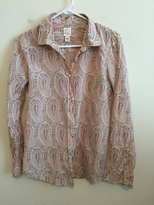 586e6782 5132) J CREW size 4 beige red paisley The Perfect Shirt button down cotton  silk