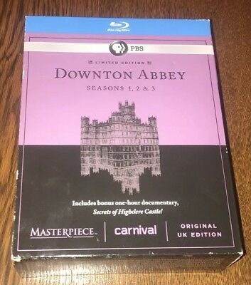 PBS DOWNTON ABBEY SEASONS 1 2 3 (Blu-ray, Limited Edition, 2013, 9-Disc) + Bonus