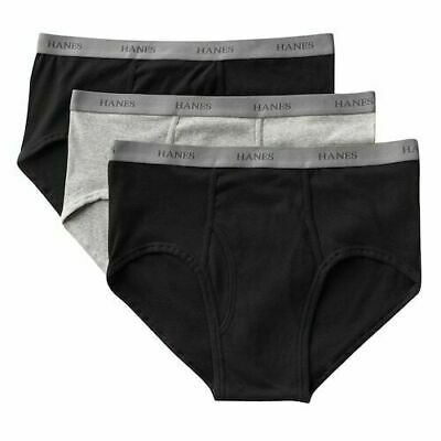 c3b3fc9275 Hanes Big And Tall Classic Brief 6X 6Xl 100% Cotton 3 Pack Black Gray
