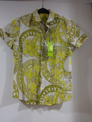 31d7a75f VERSACE JEANS cotton yellow green print LOGO short sleeve shirt $275 size 50