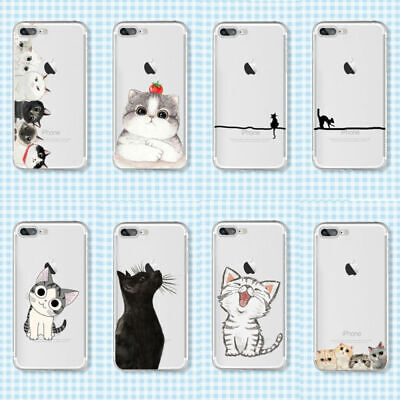 cd01aca97d FOR IPHONE 8 7 6 6S Plus Cartoon Cat Print Phone Case Soft TPU Phone ...