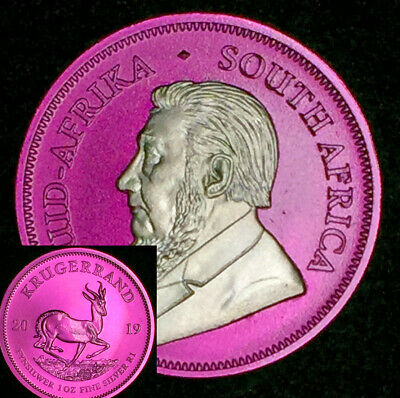 2019 1 Oz Silver Coin Krugerrand Africa Wild Magenta Toned With Capsule