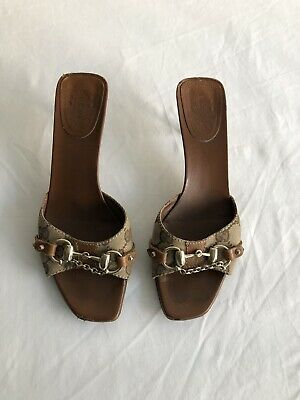 7533927dfea8 AUTHENTIC GUCCI SILVER Peep Toe Heel Leather Bow Bamboo Beads US ...