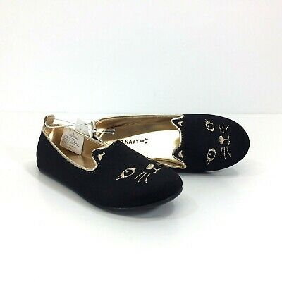 dbf38ec082c Old Navy Kids Black Kitty Cat Slip On Flats Shoes Girl Toddler Size 11 New!
