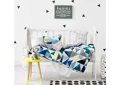 BNWT ADAIRS Kids Concord Navy Geo Style Cot Quilt Cover Set
