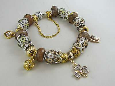 "GORGEOUS 925 SILVER STAMPED GOLDEN 21cm EUROPEAN STYLE CHARM BRACELET "" LOVE """