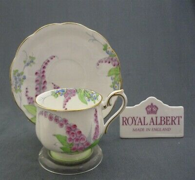 c1935-1945 Royal Albert England Bone China Flowers Tea Cup & Saucer Duo Set